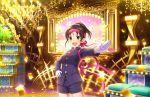 black_hair blush green_eyes harada_miyo idolmaster_cinderella_girls_starlight_stage jacket short_hair