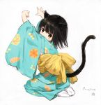 1girl animal_ears back_bow bangs black_hair blue_kimono bow brown_eyes cat_ears cat_girl cat_tail closed_mouth eyebrows_behind_hair full_body highres japanese_clothes kimono long_sleeves looking_at_viewer looking_to_the_side no_shoes obi original print_kimono sash seiza sho_(sho_lwlw) sitting socks soles solo tail tail_raised whisker_markings white_legwear wide_sleeves yellow_bow