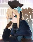 1girl bangs black_headwear black_ribbon blonde_hair blue_dress blue_eyes blue_flower blue_rose book bookshelf brown_gloves chair closed_mouth dress eyebrows_visible_through_hair fate_(series) flower fur-trimmed_sleeves fur_trim gloves hair_flower hair_ornament hair_ribbon hakuishi_aoi hat long_hair long_sleeves looking_at_viewer lord_el-melloi_ii_case_files mini_hat on_chair reines_el-melloi_archisorte ribbon rose sitting smile solo table tilted_headwear upper_body