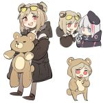 beret blue_eyes blush cellphone coat double_bun eyewear_on_head girls_frontline gloves grey_hair hat holding holding_phone mdr_(girls_frontline) multicolored_hair open_mouth p90_(girls_frontline) phone pink_eyes red_eyes smile stuffed_animal stuffed_toy sunglasses teddy_bear zocehuy