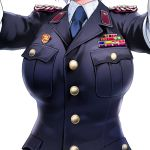1girl breast_pocket breasts buttons cowboy_shot epaulettes gloves head_out_of_frame large_breasts military military_rank_insignia military_uniform necktie original outstretched_arms pocket samazuka_mashiro solo uniform white_background white_gloves