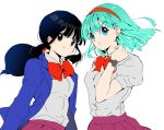 2girls annoyed aqua_hair arms_at_sides bangs black_eyes black_hair blue_eyes blue_jacket blunt_bangs bulma chi-chi_(dragon_ball) dragon_ball dragon_ball_(classic) dress_shirt eyelashes floating_hair grey_shirt hairband hand_up jacket libeuo_(liveolivel) looking_at_viewer looking_away multiple_girls neck_ribbon pleated_skirt ponytail puffy_short_sleeves puffy_sleeves purple_skirt red_hairband red_ribbon ribbon school_uniform shiny shiny_hair shirt shirt_tucked_in short_hair short_sleeves sidelocks simple_background skirt smile uniform upper_body v-shaped_eyebrows watch watch white_background
