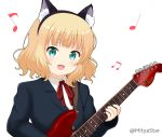 1girl :d animal_ear_fluff animal_ears aqua_eyes bangs beamed_eighth_notes black_hairband blazer blonde_hair blue_jacket blush cat_ears collared_shirt commentary_request eighth_note eyebrows_visible_through_hair fake_animal_ears fender_mustang gochuumon_wa_usagi_desu_ka? gun hairband holding holding_gun holding_weapon jacket kirima_sharo looking_at_viewer miicha musical_note neck_ribbon open_mouth quarter_note red_ribbon ribbon school_uniform shirt simple_background smile solo twitter_username upper_body weapon white_background white_shirt