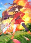 1girl bandaged_leg bandages belt black_belt black_hair black_legwear blush button_eyes cape collar dress explosion flat_chest hat highres holding holding_staff kono_subarashii_sekai_ni_shukufuku_wo! magical_girl megumin mikazuki_akira! mismatched_legwear orange_footwear red_dress red_eyes short_hair_with_long_locks single_thighhigh staff thigh-highs witch_hat