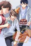 3boys :d ace_of_diamond black_hair black_pants brown_eyes brown_hair cake character_name dated food furuya_satoru glasses happy_birthday hat heart hood hoodie kneeling long_sleeves looking_at_another male_focus miyuki_kazuya multiple_boys open_mouth pants party_hat sawamura_eijun shellw_(jammmmmmmu) shirt smile standing white_shirt