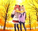 2girls animal_ears autumn bag brown_hair character_request coffee_cup commentary_request cup disposable_cup duffel_coat long_hair looking_at_viewer multiple_girls neptune_(series) original panda_ears pantyhose red_eyes redhead scarf school_uniform shakeko_(neptune_series) shared_scarf signature thigh-highs tsunako twitter_username violet_eyes zettai_ryouiki