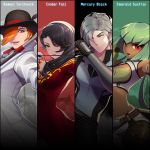 2boys 2girls arrow asymmetrical_bangs bangs belt black_gloves black_hair black_headwear black_pants bow_(weapon) bowler_hat cane character_name cinder_fall closed_mouth collar collared_coat crop_top dark_skin dress emerald_sustrai gloves green_eyes green_hair grey_hair hair_over_one_eye hat high_collar highres holding_arrow long_hair long_sleeves looking_at_viewer looking_to_the_side mercury_black midriff multiple_boys multiple_girls official_art open_mouth orange_hair pants red_dress red_eyes roman_torchwick rwby shirt short_hair standing stick uyalago weapon white_coat yellow_eyes