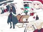 ahoge amakusa_shirou_(fate) antlers asclepius_(fate/grand_order) ayamatazu bell bell_collar christmas cloak collar dynamite edmond_dantes_(fate/grand_order) fate/grand_order fate_(series) first_aid_kit florence_nightingale_(fate/grand_order) gas_mask gloves hat jeanne_d'arc_(fate)_(all) jeanne_d'arc_alter_santa_lily mask sack santa_hat scarf shaded_face sled smile snow