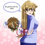1girl amber_eyes arms_behind_back arms_folded blonde_hair blue_sweater blush bound bound_arms bound_wrists cute deviantart happy long_hair looking_at_viewer looking_back open_mouth red_ribbon ribbon sincity2100 tenjouin_asuka tied_up winged_kuriboh yu-gi-oh! yuu-gi-ou_gx