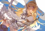 1girl ahoge armor armored_boots bangs bare_shoulders blonde_hair blue_eyes boots breasts dress flag full_body gloves granblue_fantasy hair_ornament holding holding_sword holding_weapon jeanne_d'arc_(granblue_fantasy) long_hair medium_breasts nido_celisius open_mouth petals polearm single_glove sleeveless sleeveless_dress solo sword thigh-highs thigh_boots torn_clothes torn_dress weapon white_dress