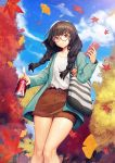 1girl absurdres aqua_jacket autumn autumn_leaves bag black_hair blue_sky braid brown_skirt can cellphone closed_mouth clouds collarbone commentary_request day ginkgo_leaf glasses glint hair_over_shoulder highres holding holding_can holding_phone jacket leaf leaves_in_wind long_hair long_sleeves looking_at_viewer maple_leaf miniskirt open_clothes open_jacket original outdoors pencil_skirt phone red-framed_eyewear red_eyes round_eyewear shirt shoulder_bag skirt sky smartphone smile soda_can solo standing striped thighs twin_braids twintails white_shirt y.i._(lave2217)