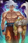2boys abs angry artist_logo bald bare_arms bare_shoulders bird_studio blood bloody_clothes cape carrying carrying_under_arm clenched_hand closed_mouth commentary crossover dragon_ball exposed_muscle gloves highres j.c._staff looking_at_viewer male_focus midriff multiple_boys muscle nipples norman_de_mesa one-punch_man orange_pants pants patreon_logo patreon_username publisher_connection red_gloves saitama_(one-punch_man) saiyan shueisha signature son_gokuu spiky_hair standing toei_animation torn_clothes watermark web_address what white_cape white_hair wristband