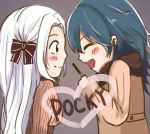 2girls blue_hair blush bow byleth_(fire_emblem) byleth_(fire_emblem)_(female) chibi closed_eyes coat cute edelgard_von_hresvelg female_my_unit_(fire_emblem:_fuukasetsugetsu) fire_emblem fire_emblem:_fuukasetsugetsu fire_emblem:_three_houses fire_emblem_heroes hair_bow hair_ribbon intelligent_systems koei_tecmo long_hair looking_at_another my_unit_(fire_emblem:_fuukasetsugetsu) nintendo open_eyes pocky pocky_day ribbon super_smash_bros. todayskyouko white_hair winter yuri