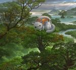 baymax big_hero_6 bridge building clouds cloudy_sky commentary_request disney forest fusion highres in_tree looking_at_viewer mountain nature nekobus no_humans river robot sky studio_ghibli tonari_no_totoro totoro tree treehouse uchio_kazumasa