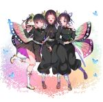 3girls absurdres animal_print bangs bare_legs belt black_hair black_pants black_skirt blue_butterfly blush boots breasts bug butterfly butterfly_hair_ornament butterfly_print cherry_blossoms closed_eyes coat cross-laced_footwear geta gradient_hair hair_ornament haori highres hug insect japanese_clothes katana kimetsu_no_yaiba knee_boots kochou_kanae kochou_shinobu long_hair long_sleeves looking_at_another looking_at_viewer medium_breasts multicolored_hair multiple_girls one_eye_closed open_mouth pants parted_bangs petals pink_hair piyopoyo pleated_skirt purple_hair sandals scabbard sheath sheathed short_hair siblings side_ponytail sisters skirt smile sword thighs tsuyuri_kanao two-tone_hair uniform violet_eyes weapon white_background white_footwear wide_sleeves