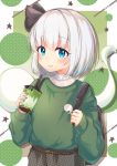 1girl absurdres adapted_costume bangs belt belt_buckle black_ribbon blush bob_cut buckle closed_mouth cup disposable_cup eyebrows_visible_through_hair fingernails frills green_nails green_sweater hair_ribbon highres holding holding_cup konpaku_youmu konpaku_youmu_(ghost) long_fingernails long_sleeves multicolored multicolored_background nail_polish plaid puffy_long_sleeves puffy_sleeves ribbon short_hair silver_hair sleeves_past_wrists smile solo star suguharu86 sweater touhou upper_body