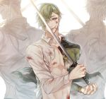 3boys back-to-back blood cuts eyebrows_visible_through_hair eyes_visible_through_hair green_eyes green_hair holding holding_sword holding_weapon injury jacket lips male_focus multiple_boys navel ookanehira_(touken_ranbu) open_clothes open_jacket shokudaikiri_mitsutada simple_background smile sonoda_(daw_sow0) spiky_hair sword torn_clothes touken_ranbu uguisumaru weapon white_background