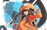 1girl absurdres anchor backpack bag baggy_clothes black_gloves brown_hair commentary english_commentary fingerless_gloves gloves guilty_gear guilty_gear_strive hair_between_eyes hat highres holding holding_weapon huge_weapon lyuka may_(guilty_gear) orange_eyes orange_headwear orange_hoodie orange_shirt over_shoulder pirate_hat salute shirt skull_and_crossbones smile solo weapon weapon_over_shoulder