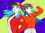 2girls :d alternate_color alternate_hair_color aqua_hair back-to-back bangs baseball_cap blue_background blue_eyes blue_hair blunt_bangs breasts bulma buttons chi-chi_(dragon_ball) clothes_writing dragon_ball dragon_ball_(classic) english_text eyelashes fingernails floating_hair goggles goggles_on_head green_background hand_in_pocket happy hat hime_cut jacket leather leather_jacket libeuo_(liveolivel) long_hair long_sleeves looking_at_viewer looking_away medium_breasts multiple_girls open_mouth orange_shirt pants ponytail red_headwear red_jacket shiny shiny_clothes shiny_hair shirt sidelocks simple_background smile star striped striped_background teeth text_focus two-tone_background upper_body upper_teeth white_pants white_shirt