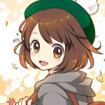 1girl :d autumn_leaves ayamisiro backpack bag bangs blush brown_eyes brown_hair falling_leaves female_protagonist_(pokemon_swsh) from_side green_headwear hood hood_down leaf looking_at_viewer looking_to_the_side open_mouth pokemon pokemon_(game) pokemon_swsh short_hair signature smile solo swept_bangs tam_o'_shanter tareme upper_body
