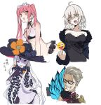1boy 3girls abigail_williams_(fate/grand_order) ahoge bangs bikini black-framed_eyewear black_bow black_dress black_gloves black_headwear black_panties blue_eyes blue_jacket bow breasts brown_coat closed_mouth coat collarbone dress emoji_censor facial_hair fate/grand_order fate_(series) forehead formal fur-trimmed_jacket fur_trim glasses gloves grey_hair hand_on_own_chin hat jacket james_moriarty_(fate/grand_order) jeanne_d'arc_(alter)_(fate) jeanne_d'arc_(fate)_(all) keyhole large_breasts long_hair long_sleeves looking_at_viewer medb_(fate)_(all) medb_(swimsuit_saber)_(fate) medium_breasts middle_finger multiple_bows multiple_girls mustache navel off_shoulder open_clothes open_jacket open_mouth orange_bow panties parted_bangs pink_hair red_eyes shaded_face short_hair sidelocks silver_hair simple_background small_breasts smile suit swimsuit teshima_nari third_eye tiara tongue tongue_out twintails underwear white_background white_bikini white_hair white_skin wicked_dragon_witch_ver._shinjuku_1999 witch_hat yellow_eyes
