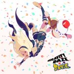 1girl anniversary armlet bangs black_scarf blonde_hair blue_eyes boots breasts commentary_request confetti crossover falling forehead gradient gradient_background gravity_daze hair_blowing hairband headwear high_heel_boots high_heels highres kitten_(gravity_daze) kneehighs leotard logo long_hair looking_at_viewer monkey official_art open_mouth outstretched_arms parted_bangs pink_background red_eyes saitou_shunsuke saru_getchu scarf shorts simple_background small_breasts smile spread_arms strapless upside-down vambraces white_background yellow_shorts