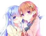 2girls :q ;) bangs black_sailor_collar blue_eyes blue_hair blush brown_hair brown_sweater cheek-to-cheek closed_mouth commentary_request eyebrows_visible_through_hair gochuumon_wa_usagi_desu_ka? hair_between_eyes hair_ornament hairclip hoto_cocoa kafuu_chino kouda_suzu long_hair long_sleeves looking_at_viewer multiple_girls neck_ribbon neckerchief one_eye_closed one_side_up pink_sweater red_neckwear red_ribbon red_string ribbon sailor_collar simple_background sleeves_past_wrists smile string string_around_finger sweater tongue tongue_out upper_body violet_eyes white_background white_sailor_collar