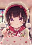 1girl bakery blurry blurry_background blush bow braid brown_hair cake day food frown hair_ornament highres indoors kon_hoshiro original plaid plaid_bow red_bow shop solo_focus standing string_of_flags sweat twin_braids upper_body violet_eyes white_headwear window x_hair_ornament