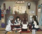 4girls bangs black_hair blush brown_hair calendar_(object) clock closed_mouth cup curtains dress flower grey_hair hair_ribbon hatsuyuki_(kantai_collection) highres holding holding_pen indoors kantai_collection kuragare long_hair long_sleeves miyuki_(kantai_collection) multiple_girls murakumo_(kantai_collection) pen phone pillow ponytail ribbon sailor_collar sailor_dress school_uniform serafuku shikinami_(kantai_collection) short_hair short_sleeves sitting skirt table television tissue_box trash_can tress_ribbon watching_television