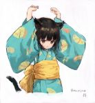 1girl animal_ears arms_up bangs black_hair blue_kimono brown_eyes cat_ears cat_girl cat_tail cropped_torso eyebrows_behind_hair hair_between_eyes highres japanese_clothes kimono long_sleeves looking_away obi original parted_lips print_kimono sash sho_(sho_lwlw) short_hair solo tail tail_raised upper_body whisker_markings wide_sleeves