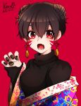 1girl bangs black_nails black_sweater breasts brown_hair claw_pose copyright_request crescent dated double_bun earrings facepaint fang floral_print hair_between_eyes haori highres japanese_clothes jewelry long_sleeves medium_breasts nail_art nail_polish off_shoulder open_mouth red_background red_eyes shuraouji59 simple_background skin_fang sleeves_past_wrists solo star star_in_eye sweater symbol_in_eye tassel turtleneck whisker_markings