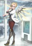 1girl absurdres adjusting_eyewear alternate_costume blonde_hair blue_eyes boots clipboard copyright doctor dr._ziegler_(overwatch) eito_nishikawa eyelashes folded_ponytail glasses hair_ornament hairclip high_heels highres huge_filesize knee_boots labcoat mechanical_wings mercy_(overwatch) name_tag official_art overwatch overwatch_(logo) parted_lips smile solo stethoscope wings wristband