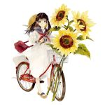 1girl bag bicycle bicycle_basket brown_eyes brown_hair closed_mouth commentary_request dagashi-ya_dekoboko-dou_to_majo_no_drop dress flower full_body ground_vehicle handbag hat hat_around_neck highres long_hair long_sleeves looking_at_viewer neckerchief niwa_haruki official_art red_neckwear sailor_dress sandals shoulder_bag simple_background smile solo standing straw_hat sunflower twintails white_background white_dress yellow_flower