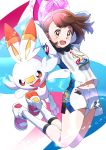 1girl :d absurdres arms_up ball brown_eyes brown_hair female_protagonist_(pokemon_swsh) full_body highres holding holding_ball jumping long_sleeves navel open_mouth pokemon pokemon_(game) pokemon_swsh ponyui0728 rabbit scorbunny shirt short_hair short_shorts shorts smile sportswear wind wind_lift