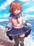 1girl anchor anchor_symbol bangs beach black_legwear blue_skirt blush brown_eyes brown_hair clouds day eyebrows_visible_through_hair fang hair_between_eyes hair_ornament hairclip ikazuchi_(kantai_collection) kantai_collection long_sleeves ocean one_eye_closed open_mouth outdoors pleated_skirt red_neckwear sailor_collar school_uniform serafuku short_hair skin_fang skirt skirt_hold sky solo thigh-highs thighs unagiman water