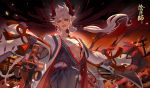 aerysky black_lips bleeding blood blood_on_face dark_sky dual_wielding highres holding holding_sword holding_weapon horns long_hair looking_at_viewer male_focus onikiri_(onmyoji) onmyoji outdoors pointy_ears ponytail red_eyes red_horns standing sword tassel torii weapon white_hair wide_sleeves