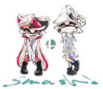 +_+ 2girls aori_(splatoon) arms_behind_back black_dress black_footwear black_hair black_shirt boots callie_(splatoon) closed_mouth commentary company_connection copyright_name cousins cross-laced_footwear crossed_legs domino_mask dress earrings english_text fangs food food_on_head green_legwear half-closed_eyes hotaru_(splatoon) jewelry leaning_forward leotard logo long_sleeves looking_at_viewer marie_(splatoon) mask mole mole_under_eye multicolored_hair multiple_girls nintendo nintendo_ead object_on_head off-shoulder_shirt off_shoulder open_mouth pantyhose pointy_ears red_leotard redhead see-through shirt shoes short_dress silver_hair smash_ball smile smirk splatoon_(series) squid_girl standing super_smash_bros. t-shirt tank_top tentacle_hair two-tone_hair ukata white_shirt yellow_eyes
