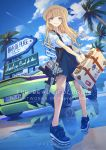 1girl assault_rifle aston_martin aston_martin_vantage bangle bangs belt blue_footwear blue_shirt blue_skirt blue_sky bracelet breasts car clouds condensation_trail day ear_piercing earrings full_body ground_vehicle gun hat high-waist_skirt highres holding_case jewelry koh_(minagi_kou) long_hair looking_at_viewer motor_vehicle multiple_earrings multiple_rings necklace original outdoors palm_tree parted_lips piercing puffy_sleeves rifle shirt shoes sidelocks skirt sky small_breasts smile sneakers solo standing tree watch watch weapon