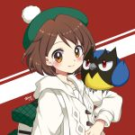 1girl ayamisiro backpack bag bangs bird blush brown_hair closed_mouth female_protagonist_(pokemon_swsh) gen_8_pokemon green_headwear hood hood_down hooded_coat long_sleeves looking_at_viewer orange_eyes pokemon pokemon_(creature) pokemon_(game) pokemon_swsh red_background red_eyes rookidee short_hair signature smile tam_o'_shanter two-tone_background white_coat