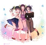3girls alternate_costume bangs bare_legs black_hair blue_butterfly blue_skirt blush boots breasts brown_footwear bug butterfly butterfly_hair_ornament cherry_blossoms closed_eyes contemporary dress floral_print gradient_hair hair_ornament hug insect kimetsu_no_yaiba kochou_kanae kochou_shinobu long_hair long_sleeves looking_at_another looking_at_viewer medium_breasts multicolored_hair multiple_girls neck_ribbon off-shoulder_shirt off_shoulder one_eye_closed open_mouth parted_bangs petals pink_dress pink_hair piyopoyo plaid plaid_skirt pleated_skirt purple_hair red_footwear red_neckwear ribbon sailor_collar shirt shoes short_hair short_sleeves siblings side_ponytail sisters skirt smile socks thighs tsuyuri_kanao twitter_username two-tone_hair violet_eyes white_background white_shirt