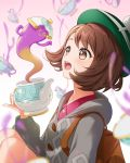 1girl @_@ backpack bag bangs blush brown_eyes brown_hair cardigan commentary dress eyebrows_visible_through_hair female_protagonist_(pokemon_swsh) gen_8_pokemon green_headwear grey_cardigan hat holding kimopoleis long_sleeves looking_at_viewer no_humans open_mouth pink_dress poke_ball pokemon pokemon_(creature) pokemon_(game) pokemon_swsh polteageist short_hair simple_background smile solo tam_o'_shanter teapot