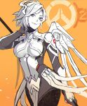 1girl alternate_costume blue_eyes bodysuit breasts chromatic_aberration cowboy_shot eyebrows_visible_through_hair eyelashes faulds hand_behind_head holding holding_staff insignia lino_chang logo looking_at_viewer looking_to_the_side mechanical_halo mechanical_wings medium_breasts mercy_(overwatch) multiple_monochrome orange_background overwatch overwatch_2 pelvic_curtain short_hair sketch smile solo staff swiss_flag white_bodysuit wings