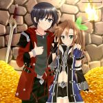 1boy 1girl bangs belt black_eyes black_gloves black_hair black_shirt black_shorts blue_coat breasts brown_hair coat commentary_request detached_sleeves eyebrows_visible_through_hair falchion_(fire_emblem) fingerless_gloves fire_emblem fire_emblem_awakening glasses gloves gold_coin green_eyes green_shirt hair_between_eyes hair_ribbon hands_on_another's_shoulders helvetica_5tandard highres if_(neptune_series) indoors jewelry long_hair looking_at_viewer navel necklace neptune_(series) original pants red_coat ribbon shirt short_hair shorts sidelocks small_breasts stone_wall swept_bangs sword thumbs_up torch v wall weapon