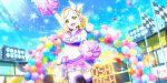 blonde_hair blush cheerleader love_live!_school_idol_festival_all_stars ohara_mari short_hair smile wink yellow_eyes