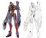 aaa_wunder alternate_form concept_art english_text evangelion:_3.0_you_can_(not)_redo full_body kagami_rei lineart mecha neon_genesis_evangelion no_humans no_pupils rebuild_of_evangelion science_fiction transformation