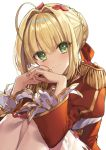 1girl ahoge bangs blonde_hair blush braid breasts closed_mouth dress epaulettes fate/extra fate/grand_order fate_(series) french_braid gambe green_eyes hair_between_eyes hair_bun hair_intakes hair_ribbon highres knees_up large_breasts long_hair long_sleeves looking_at_viewer nero_claudius_(fate) nero_claudius_(fate)_(all) petals red_dress red_ribbon ribbon simple_background sitting smile solo white_background