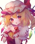 1girl ascot blonde_hair blush chikuwa_(tikuwaumai_) crystal eyebrows_visible_through_hair flandre_scarlet hair_between_eyes hat highres looking_at_viewer mob_cap puffy_short_sleeves puffy_sleeves red_eyes red_ribbon ribbon short_hair short_sleeves side_ponytail solo touhou upper_body white_headwear wings wrist_cuffs yellow_neckwear