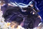 1girl absurdres bangs black_legwear blue_eyes blue_hair blush breasts dress dress_lift dutch_angle emori_miku emori_miku_project feathers fishnets flower garter_straps gloves highres huge_filesize jiiwara large_breasts lifted_by_self long_hair looking_at_viewer night outdoors purple_capelet purple_dress purple_gloves sky solo star_(sky) starry_sky thigh_strap veil very_long_hair white_flower
