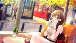 blush brown_eyes brown_hair dress glasses idolmaster idolmaster_shiny_colors jacket kuwayama_chiyuki long_hair smile