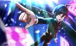 1boy :d ahoge black_hair black_pants black_shirt clenched_hand danganronpa glass_shards indoors light_rays long_sleeves male_focus new_danganronpa_v3 open_mouth pants pointing saihara_shuuichi shards shirt sinohira_rin smile solo stained_glass standing striped striped_pants striped_shirt sunlight vertical_stripes yellow_eyes